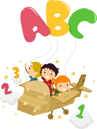 cartoon math: Illustration Featuring Kids on a Plane Playing with Letters and Numbers