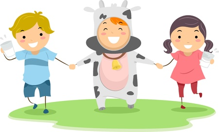 Illustration of Children Playing with a Cow Mascot illustration