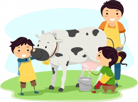 Illustration of Kids Happily Milking a Cow illustration