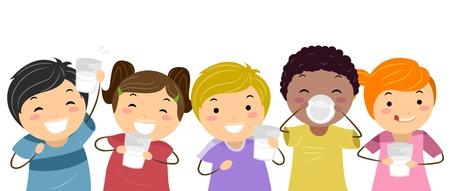 drinking milk: Illustration of Kids Happily Drinking Milk