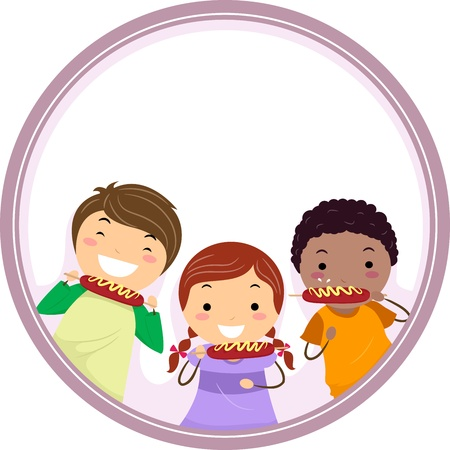 Frame Illustration Featuring Kids Eating Hotdogs Together illustration