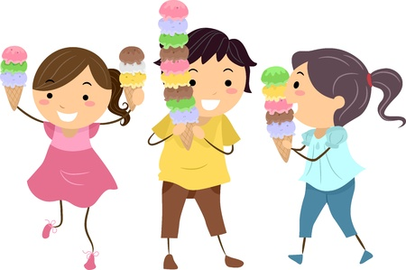 Illustration of Happy and Excited Kids Carrying Cones Filled with Ice Cream illustration