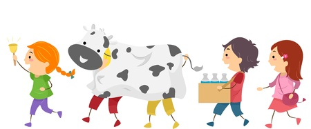 Illustration of Energetic Kids Off to Milk a Cow illustration