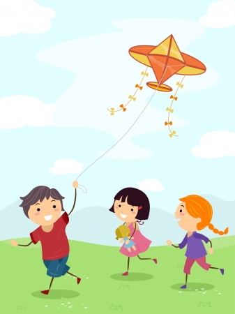 Illustration of Children Running Around While Flying a Kite illustration
