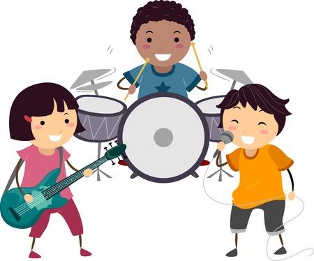niño cantando: Ilustración de un Little Kids cantando y tocando la batería y la guitarra