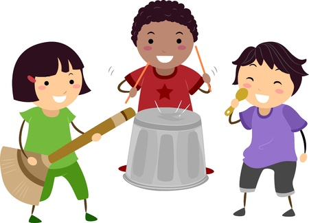 Illustration of Kids Playing with an Imaginary Drum, Guitar, and Microphone illustration