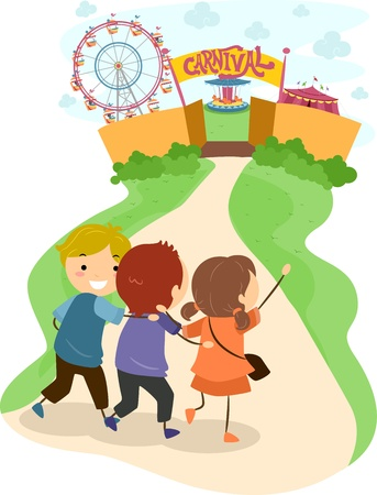 Illustration of Excited Kids Headed Towards a Carnival illustration