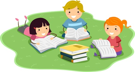 reviewing: Illustration of Kids Reading Books While Lying on the Lawn