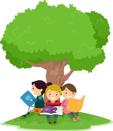 kids reading book: Illustration of Kids Reading Under a Tree
