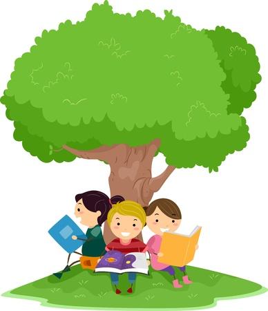 bambini che leggono: Illustrazione di bambini Lettura sotto un albero