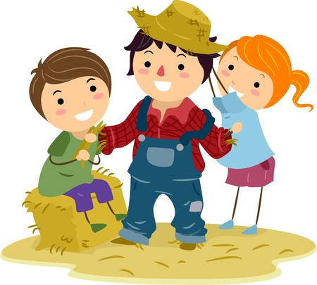 hay bales: Illustration of Kids Making a Scarecrow