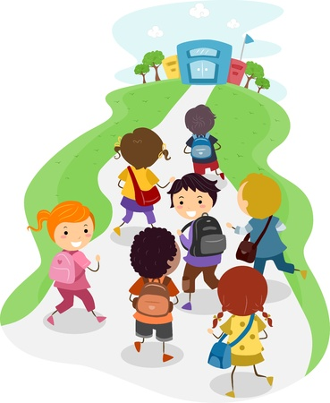 grade school: Illustration of Excited Kids On Their Way to School Stock Photo