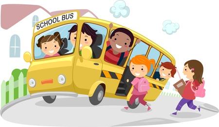 escuela caricatura: Ilustración de los niños en el autobús escolar en su camino a la escuela