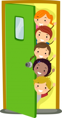 Illusstration of Kids Peeking from Behind a Door photo
