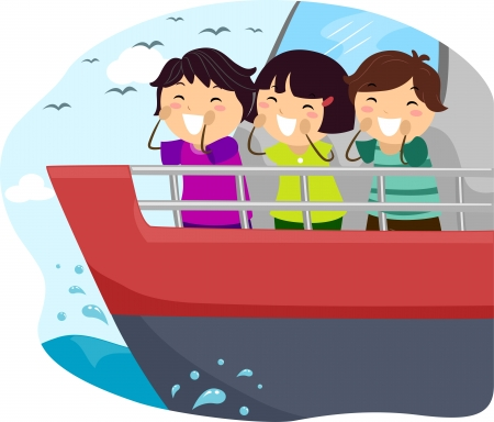 Illustration of Kids Shouting From the Balcony of a Ship illustration