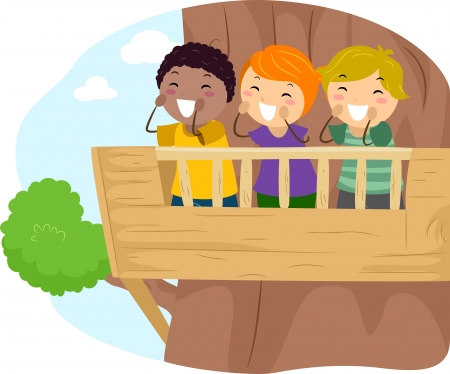 echo: Illustration of Kids Shouting From the Balcony of a Treehouse Stock Photo
