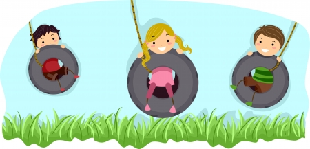 Illustration of Kids Riding Swings Made from Tires illustration