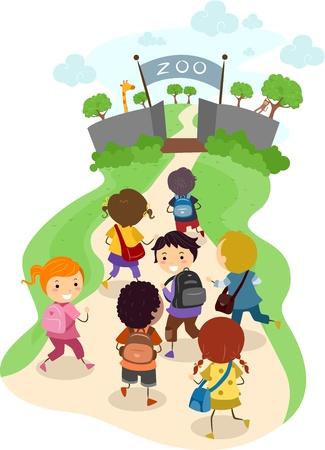 the zoo: Ilustraci�n de los ni�os en su camino hacia el Zool�gico de un viaje escolar
