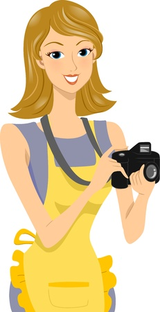 Illustration of a Female Food Photographer Holding a Camera illustration