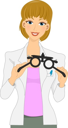eye exam: Illustration of a Female Optometrist Preparing for an Eye Examination Stock Photo