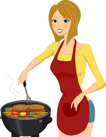 Illustration of a Woman Grilling Steak Stock Photo