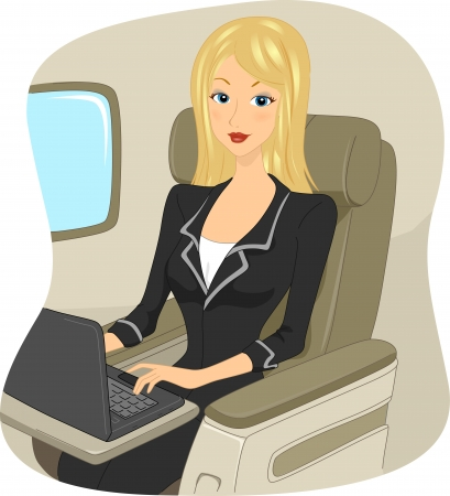 business class travel: Illustration of a Woman Surfing the Internet While On Board a Plane
