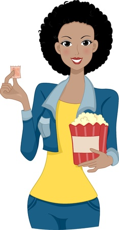 buff: Illustration of a Woman Holding a Movie Ticket with One Hand and Popcorn with the Other Stock Photo