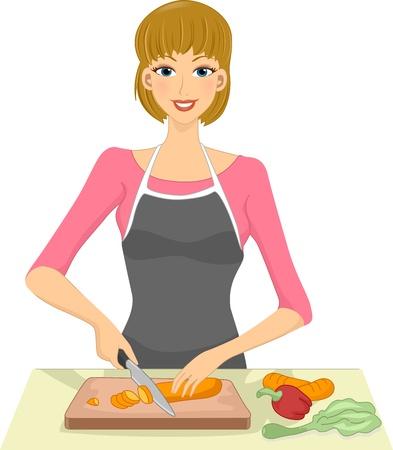 slice: Illustration of a Woman Slicing Vegetables