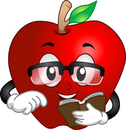 Illustration of a Bespectacled Apple Holding a Book illustration