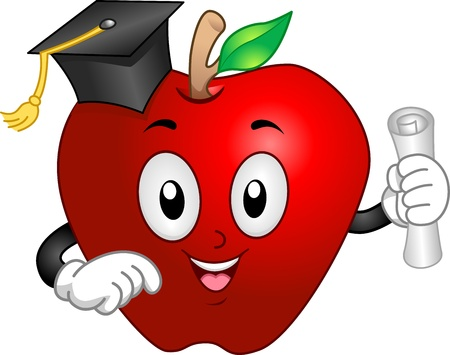 commencement: Illustration of an Apple Mascot Wearing a Graduation Cap and Holding a Diploma Stock Photo