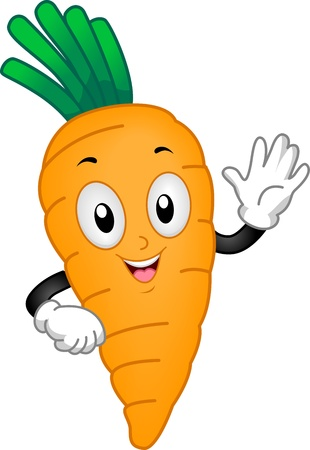 cartoon carrot: Illustration of a Carrot Mascot Waving its Hand