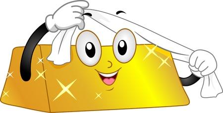 Illustration of a Gold Bar Mascot Polishing Itself