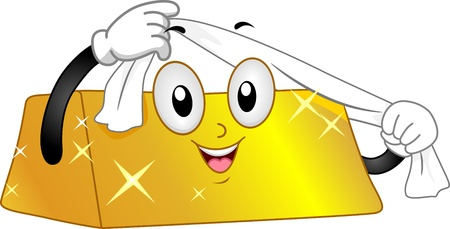 lingote de oro: Ilustraci�n de una mascota de Gold Bar Pulido Misma