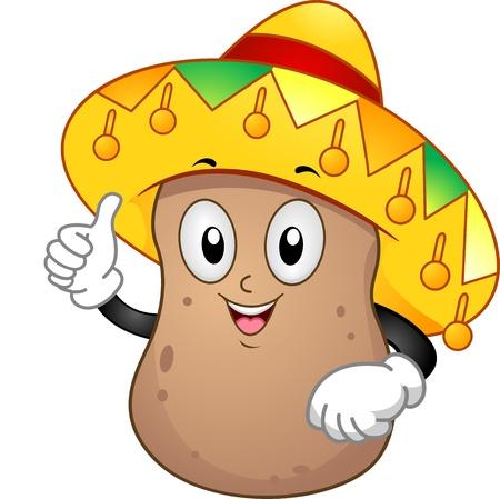 sombrero de charro: Ilustraci�n de una mascota de la Papa con sombrero mexicano Foto de archivo