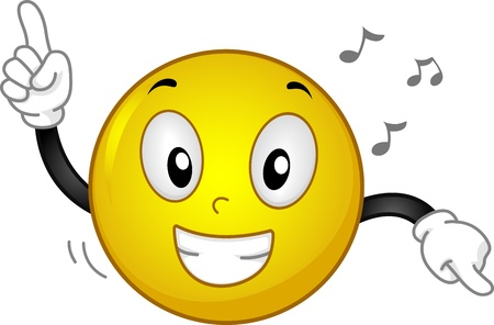 grinning: Illustration of a Grinning Smiley Dancing to Music