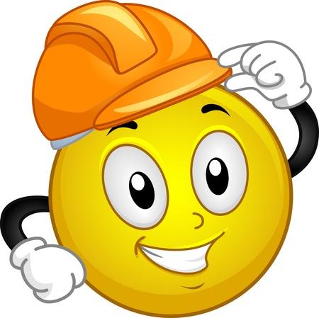 smiley: Illustratie van een Smiley dragen van een helm