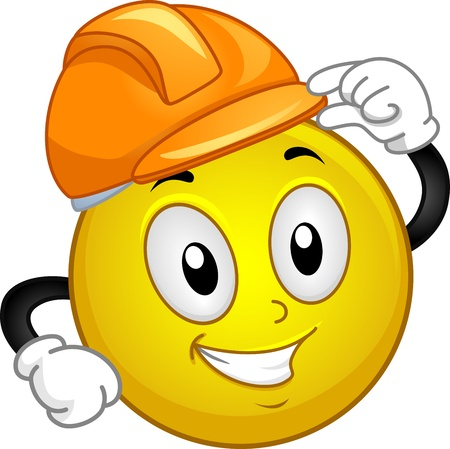 safety hat: Illustration of a Smiley Wearing a Hard Hat