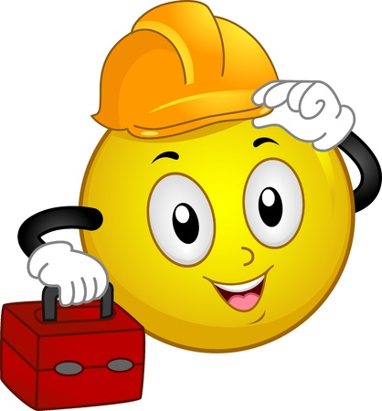 workplace safety: Illustration of a Smiley Wearing a Hard Hat and Carrying a Tool Kit Stock Photo