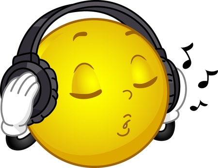 along: Illustration of a Smiley Wearing Headphones Singing Along to a Song Stock Photo