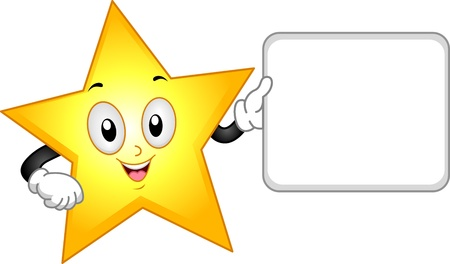 star clipart: Illustration of a Star Mascot Holding a Blank Board