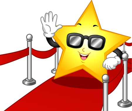 famous actress: Illustration of a Star Mascot Wearing Dark Glasses While Walking on the Red Carpet