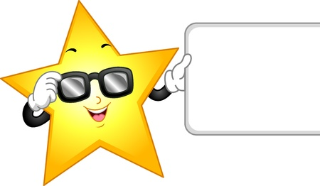 star mascot: Illustration of a Star Mascot Wearing Dark Glasses and Holding a Blank Board