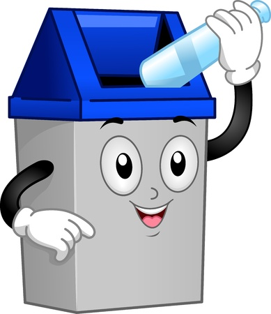 Illustration of a Trash Can Mascot Putting an Empty Bottle Inside Him illustration