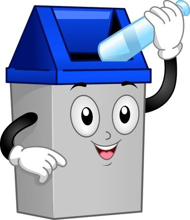 limpieza: Ilustración de un bote de basura Mascot Poner una botella vacía en su interior Foto de archivo