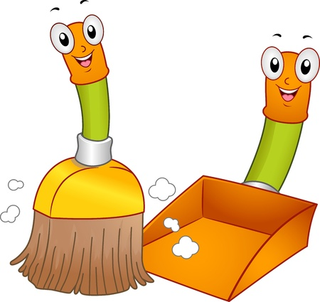 Mascot Illustration of a Broom and a Dustpan Cleaning the Floor