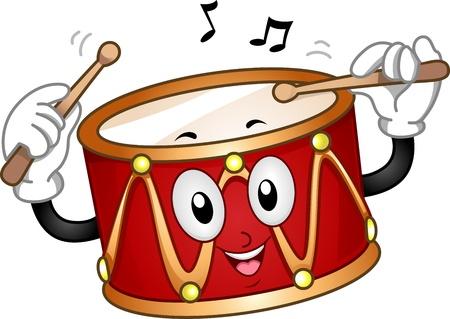 tambor: Ilustración de una mascota feliz Misma Beating Drum Foto de archivo