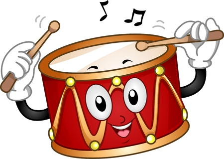 mascots: Mascot Illustration of a Happy Drum Beating Itself