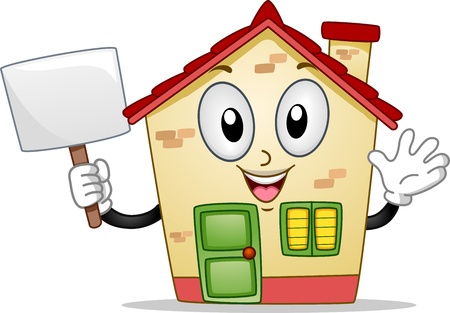 plackard: Mascot Illustration of a House Holding a Blank Board