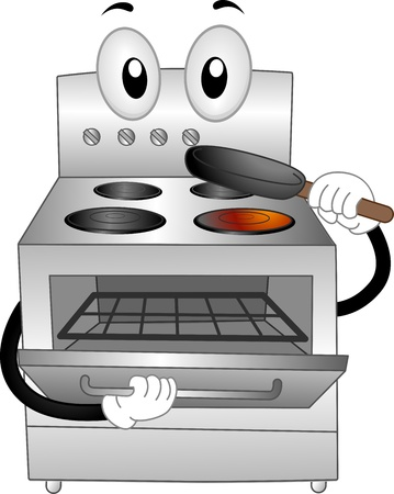 kitchen appliances: Mascot Illustration of a Stainless Oven Placing a Pan Inside of Him