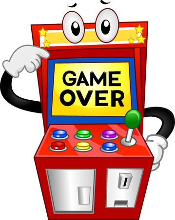 game over: Illustration of an Arcade Machine with the Words Game Over Displayed on its Monitor